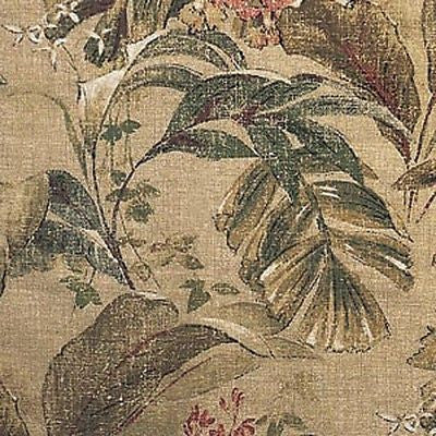 10 YARDS OF 100% COTTON FABRIC - RICHLOOM - CABORCA - STRAW COLOR - LEAF PATTERN - Padma's Plantation