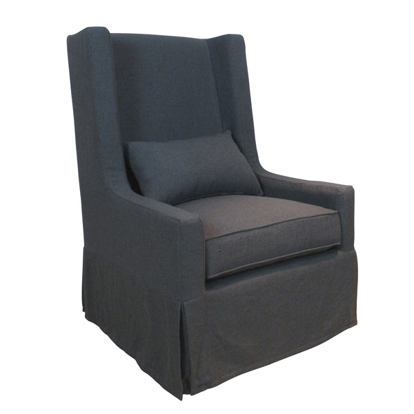 SANDSPUR BEACH SWIVEL LOUNGE CHAIR - SLIPCOVERED - CHARCOAL GREY - Padma's Plantation