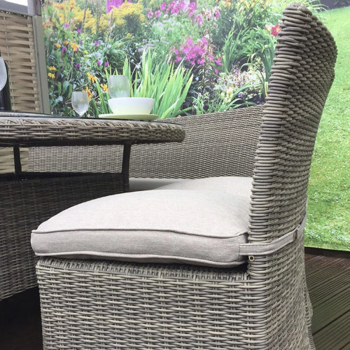 Signature Weave Chloe 4+2 Bench Set In Bamboo Weave - GardenPromos