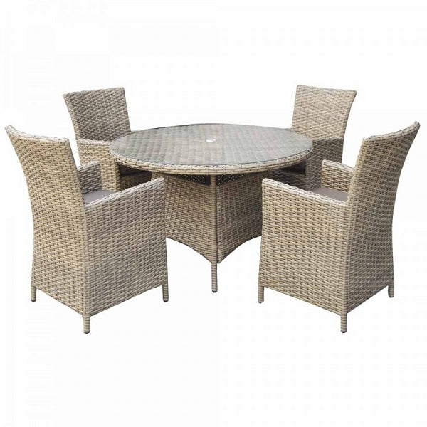 Signature Weave Round Dining Set With High Back Chairs - GardenPromos