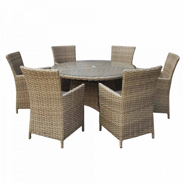 Signature Weave Round Dining Set With High Back Chairs