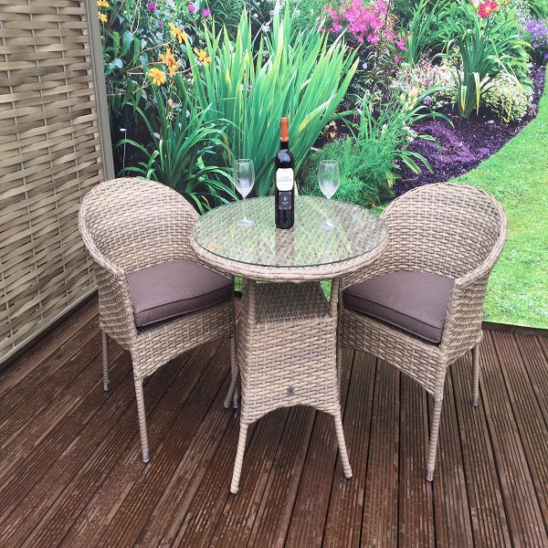 Signature Weave Darcey Bistro Set With Stacking Chair - GardenPromos