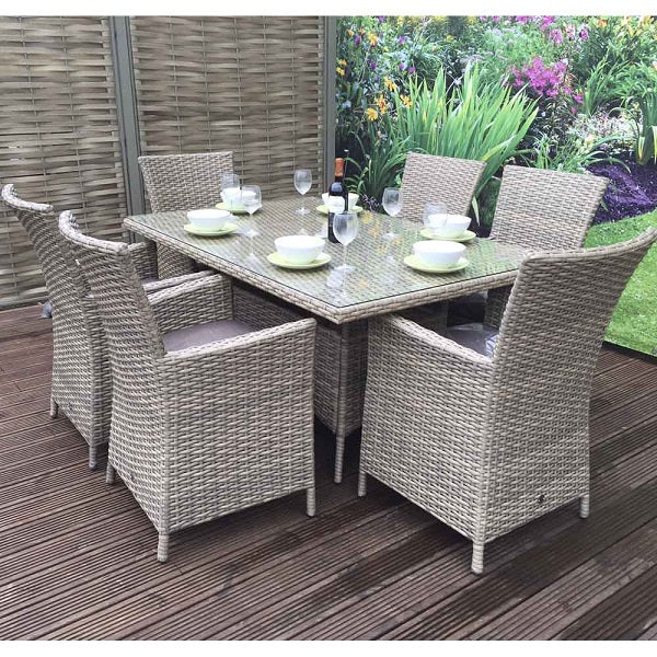 Signature Weave Darcey Rectangular Table With High Back Chairs - GardenPromos