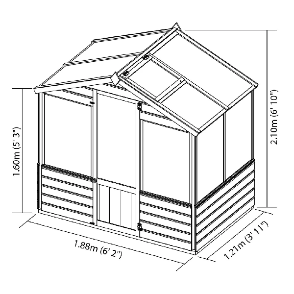 Mercia 4x6 - Traditional Greenhouse - GardenPromos
