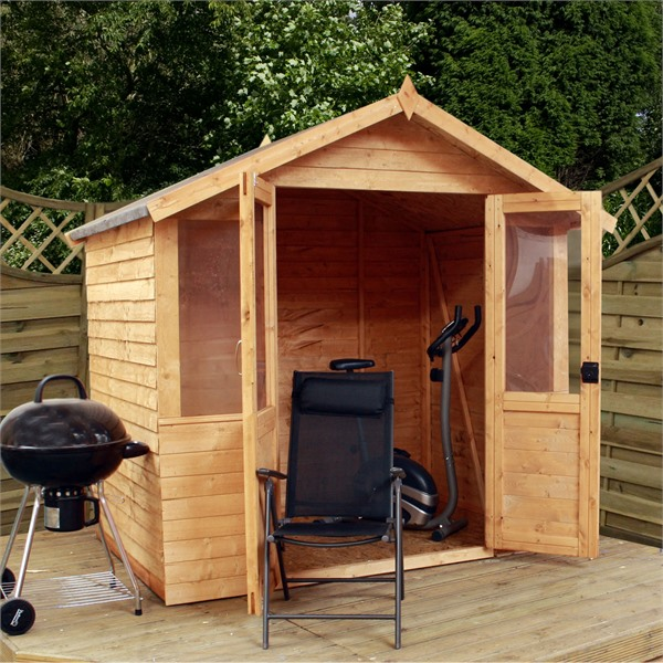 Mercia 7x5 - Overlap Traditional Double Door Summerhouse - GardenPromos