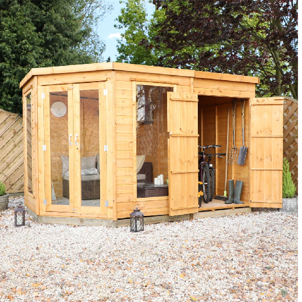 Mercia 7x7 - Corner Summerhouse With Side Shed - GardenPromos