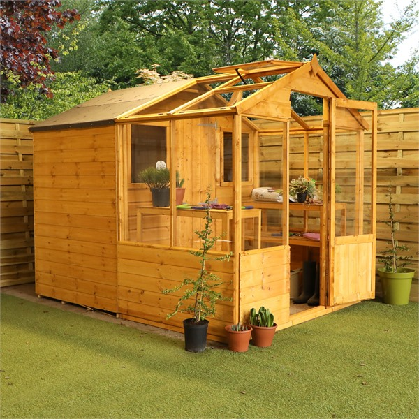 Mercia 8x6 - Traditional Apex Greenhouse Combi Shed - GardenPromos