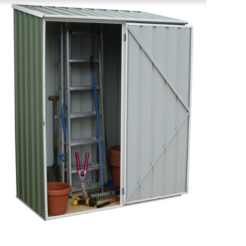 Mercia Absco Space Saver 5ft x 2ft 7in Metal Shed - Pale Eucalyptus - GardenPromos