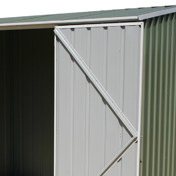 Mercia Absco Space Saver 9ft 10in x 5ft Metal Shed - Pale Eucalyptus - GardenPromos