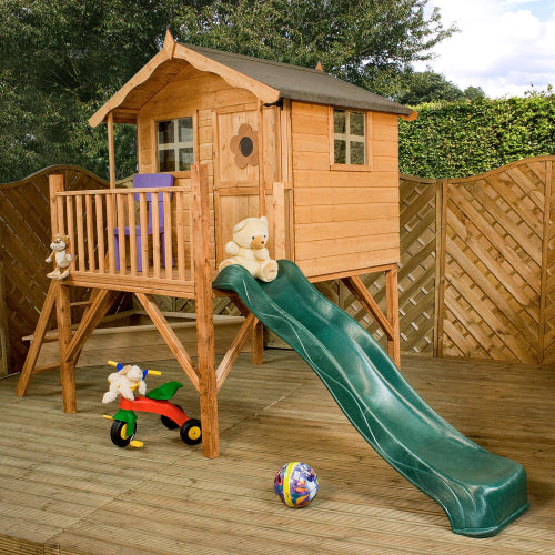 Mercia Tulip Playhouse with Tower & Slide - GardenPromos