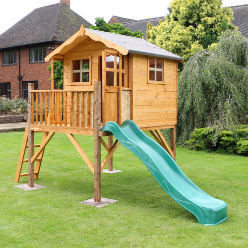 Mercia Poppy Playhouse with Tower & Slide - GardenPromos