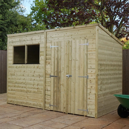 Mercia 10 x 8 - Pressure Treated Pent Shed - GardenPromos