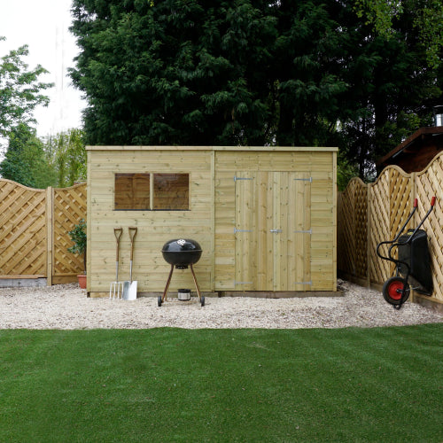Mercia 12 x 7 - Pressure Treated Pent Shed - GardenPromos
