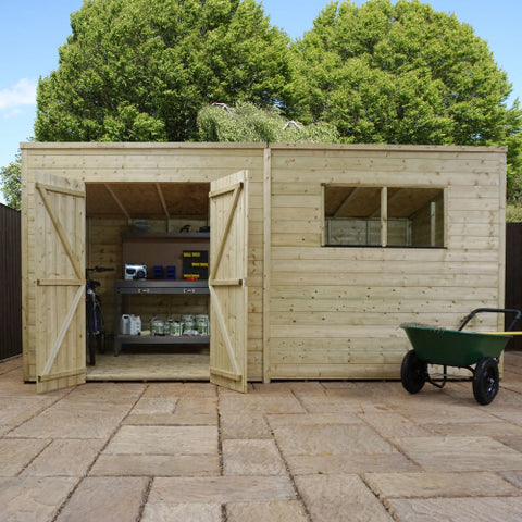 Mercia 14 x 8 - Pressure Treated Pent Shed - GardenPromos