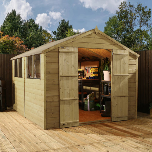 Mercia 12 x 8 - Pressure Treated Apex Shed - GardenPromos