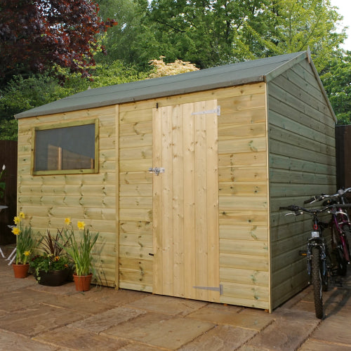 Mercia 10 x 8 - Pressure Treated Reverse Apex Shed - GardenPromos