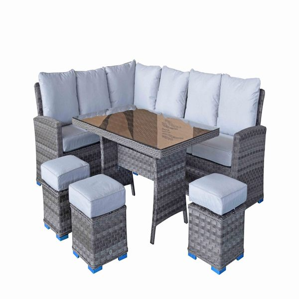 Signature Weave Corner Dining Sofa with 3 Stools and Table - GardenPromos