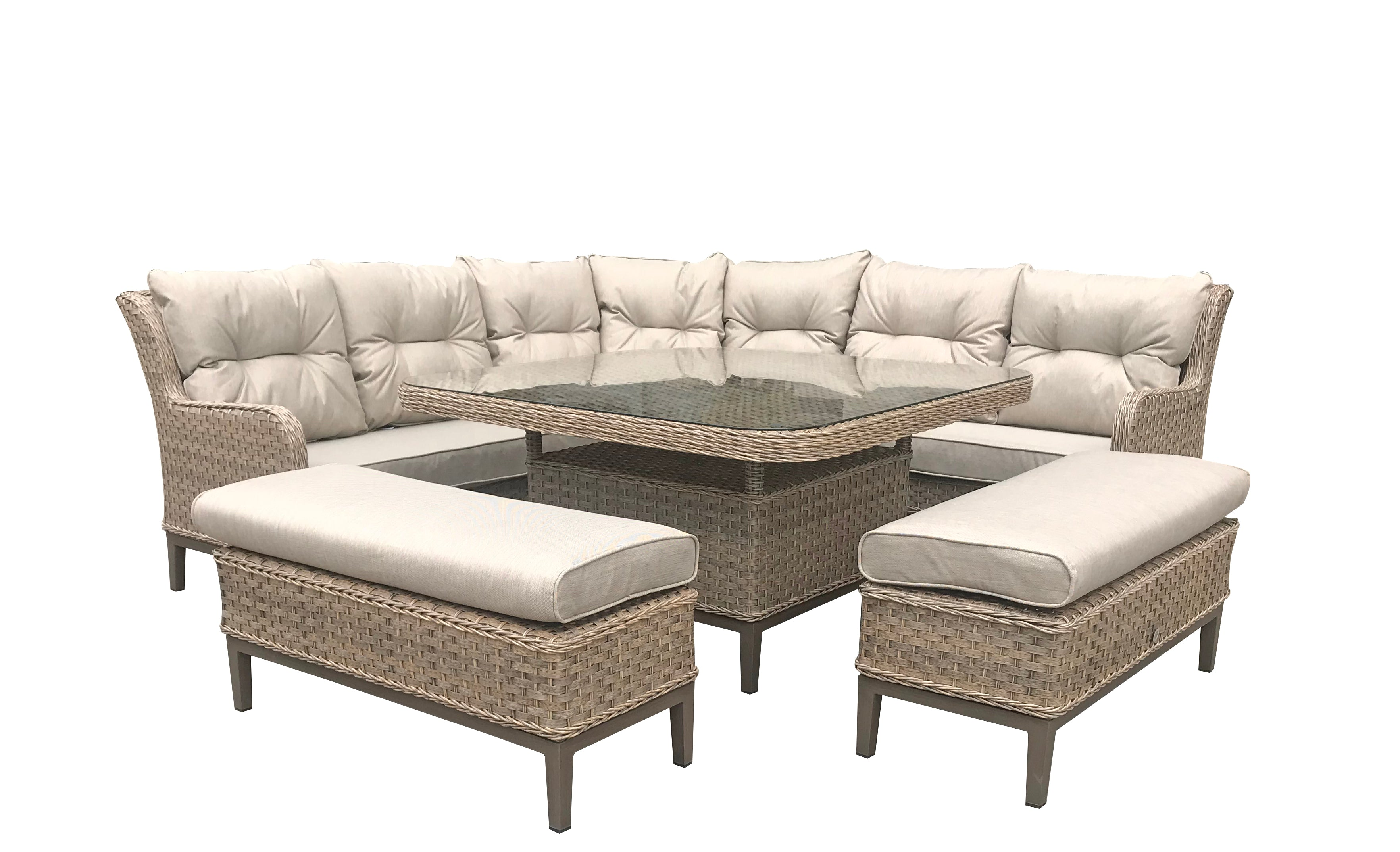 Signature Weave Diana corner dining sofa with 2 ottoman bench seats - GardenPromos