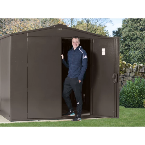 Asgard Gladiator Metal Shed Police Approved - GardenPromos