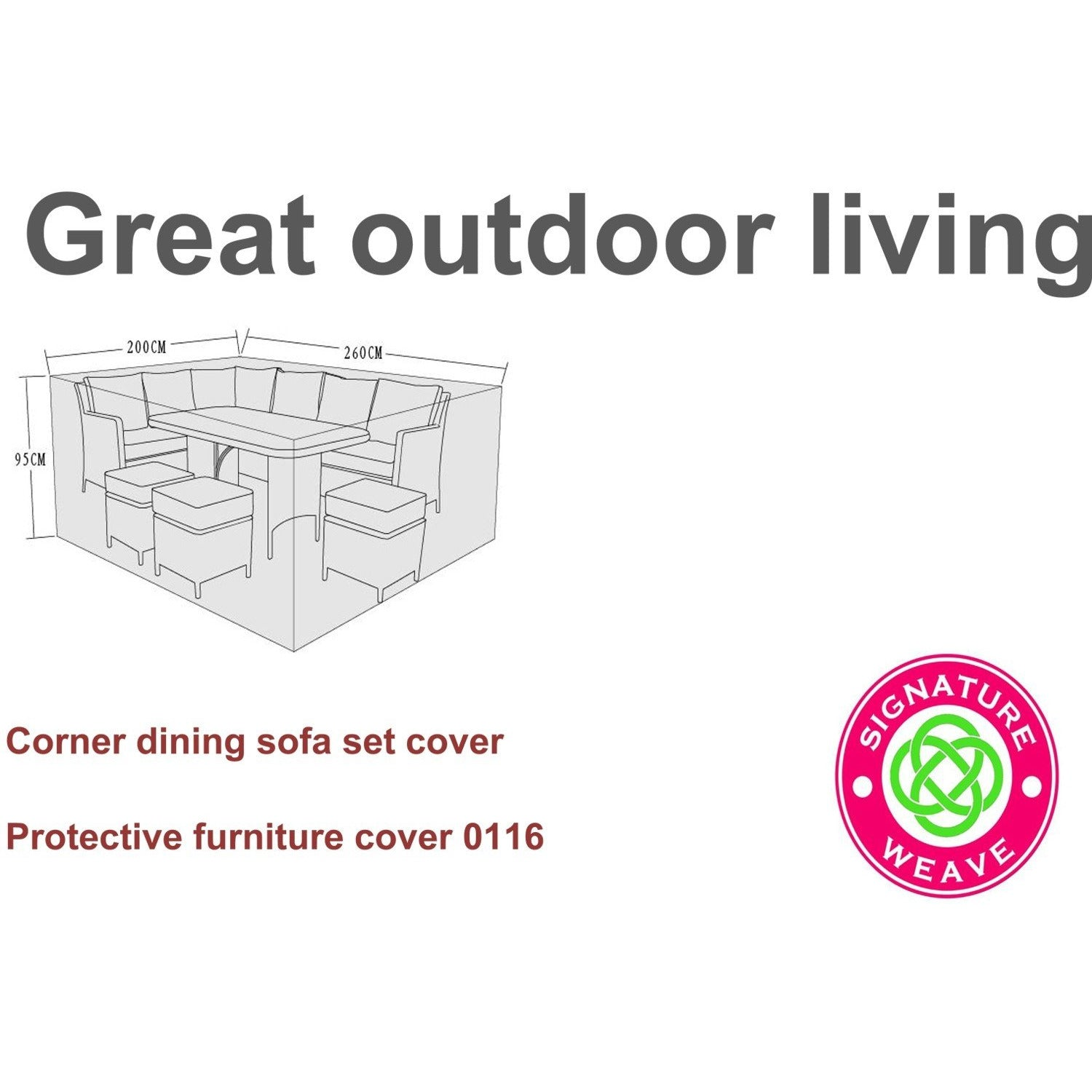 Signature Weave Protective Furniture Cover for Katherine Corner 6 Seater Dining Sets - GardenPromos
