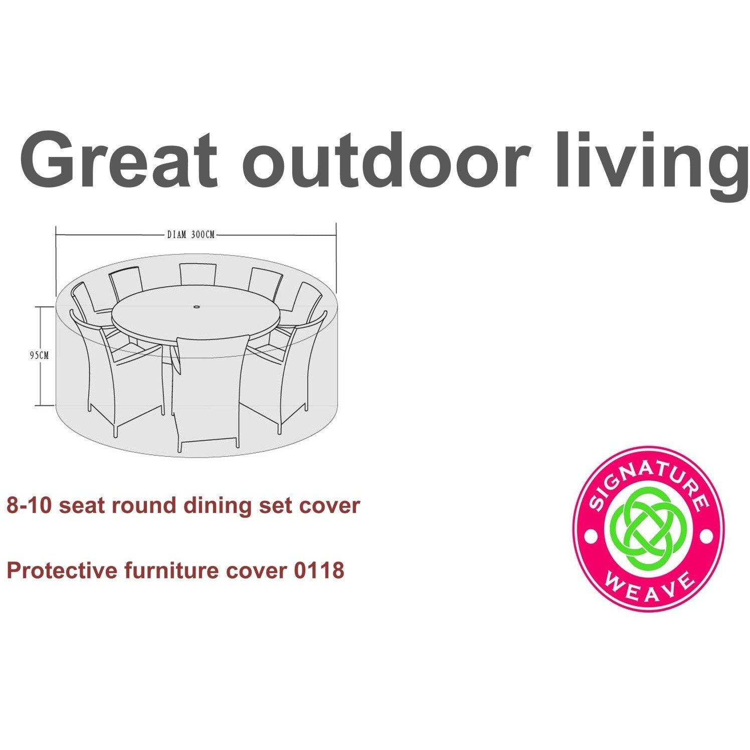 Signature Weave Protective furniture cover for 8-10 seat dining sets - GardenPromos