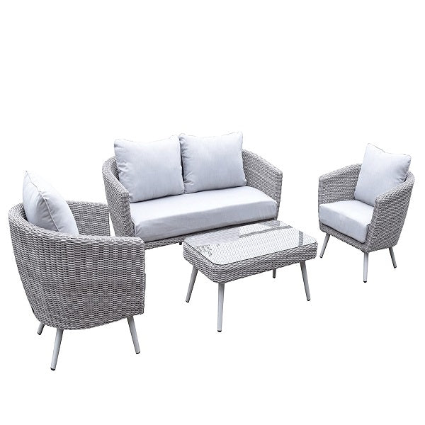 Signature Weave Danielle Tub-Style 3 Seater Sofa With Armchair And Coffee Table - GardenPromos