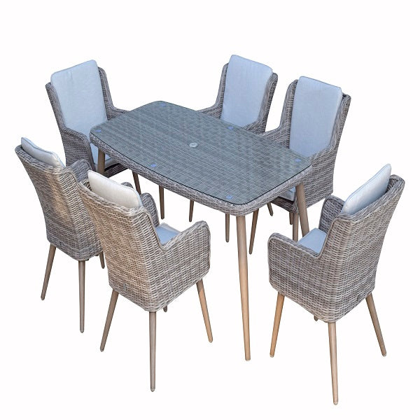 Signature Weave Rectangular Dining Table With 6 Retro Style Chairs