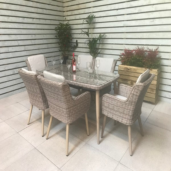 Signature Weave Rectangular Dining Table With 6 Retro Style Chairs - GardenPromos