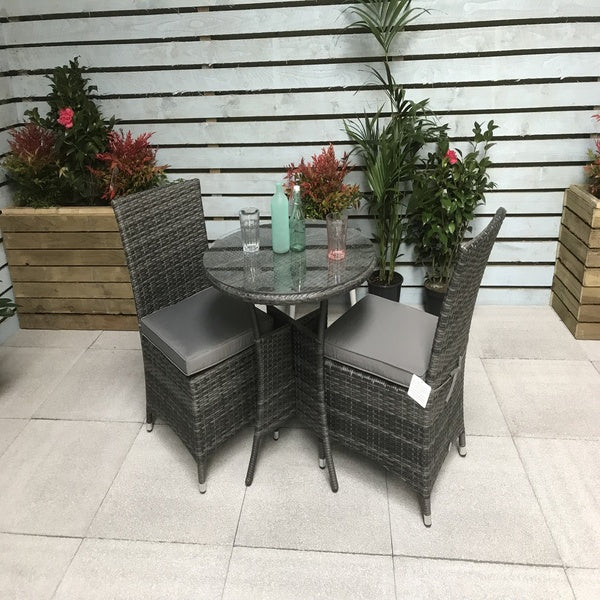 Signature Weave Emily Bistro Table with 2 Contemporary Dining Chairs - GardenPromos