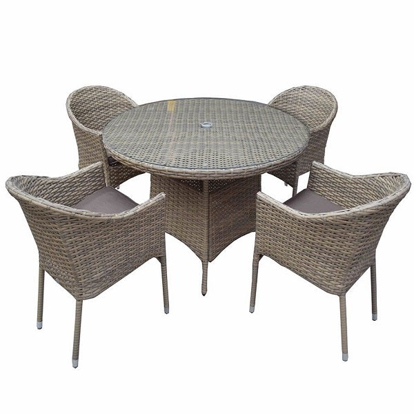 Signature Weave Darcey Round Dining Set - GardenPromos