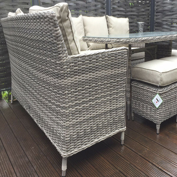Signature Weave Corner Dining Sofa in New Gray Wicker - GardenPromos