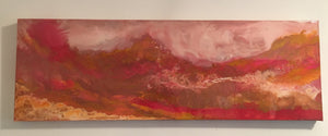 Space landscape featuring the dunes of mars, finished with resin, fluid artwork on stretched canvas.
