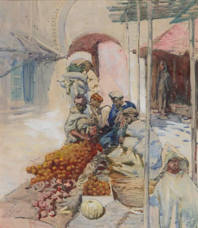The Orange Sellers, 1903, watercolour and gouache on paper, Te Papa Collection