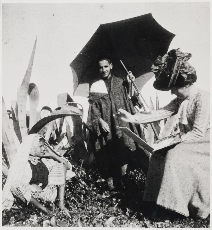Frances Hodgkins painting a young model, Tangier, Morocco, 1903