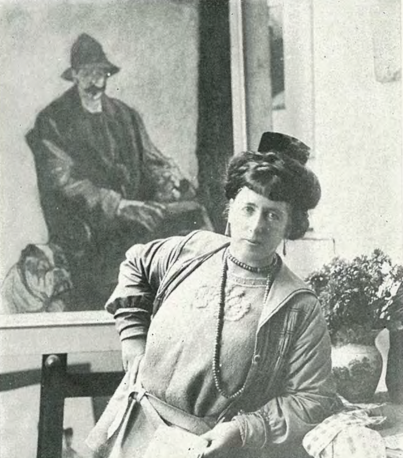 France Hodgkins at her exhibition in London, 1920