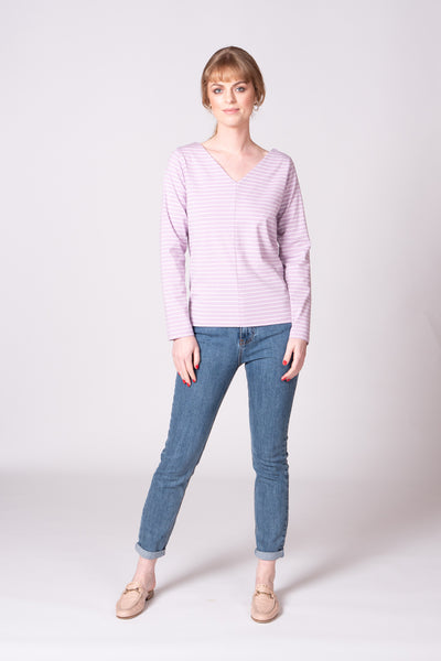 Alisa Top - Lilac Stripe
