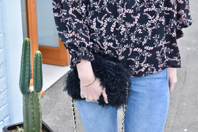 Fluffy Bluff Shearling Clutch - Black