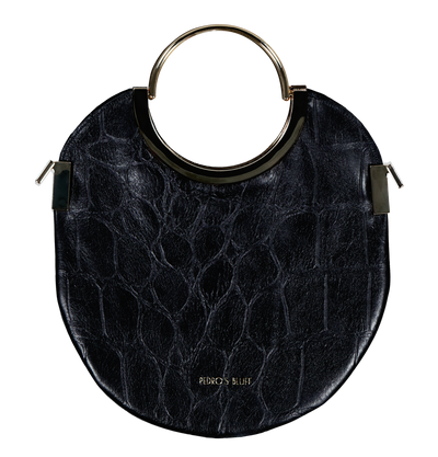 Vongole Circle Tote - Croc-Embossed Black