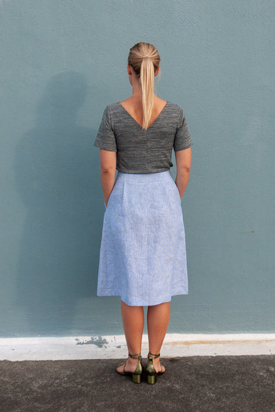 Chrysanthemum Skirt - Blue Stripe