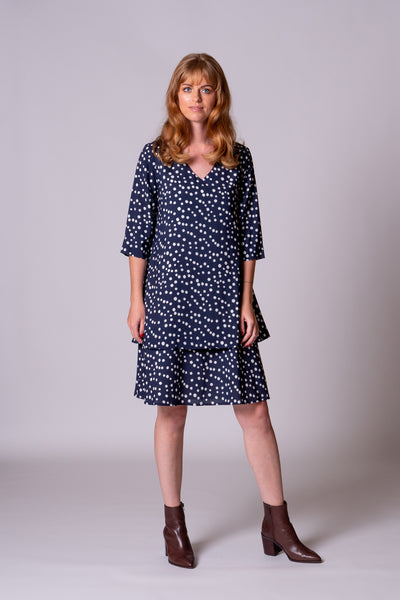 Mary Dress - Navy Spot