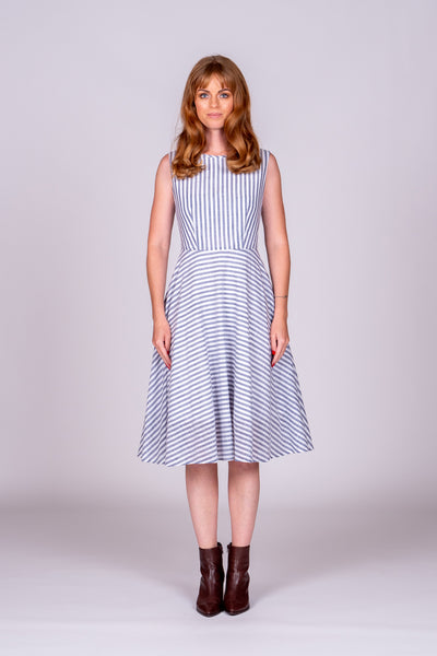 Sienna Dress - Blue/White Stripe