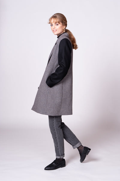 Peggy Coat - Houndstooth/Black
