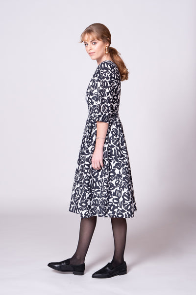Georgia Dress - Navy/White