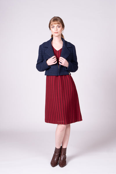Portofino Dress - Burgundy Stripe