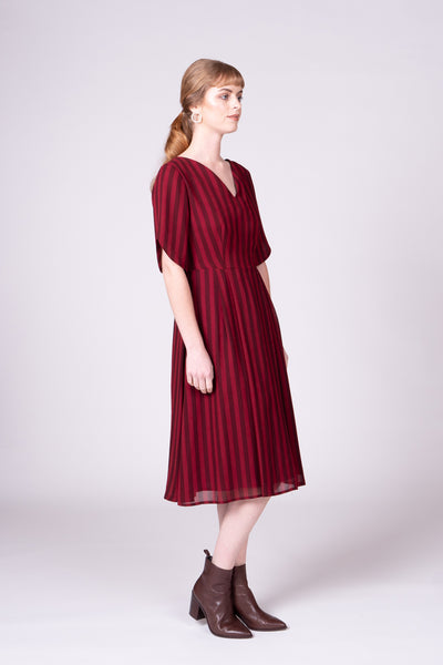 Azure Dress - Burgundy Stripe