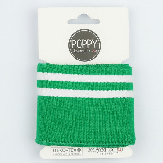 Euro Striped Cuff- Apple Green/White -     sold per roll-     7cm wide x 1m roll