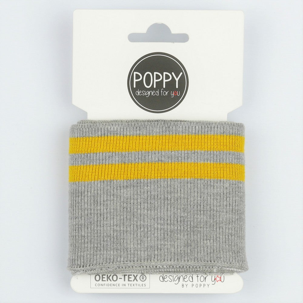 Euro Striped Cuff- Grey Marle/Ochre -     sold per roll-     7cm wide x 1m roll