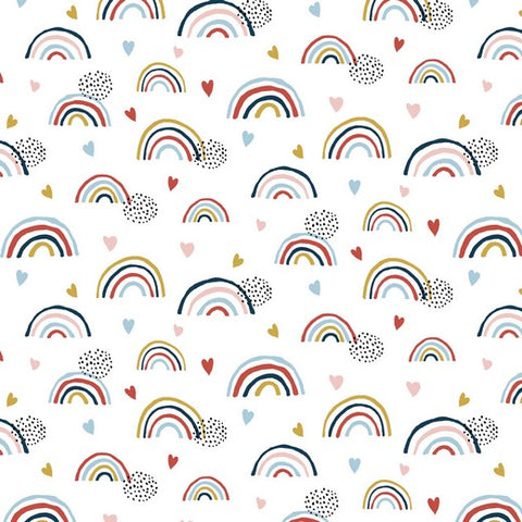 EURO GOTS  Print knit- Boho Rainbows on White  - 50cm x 150cm