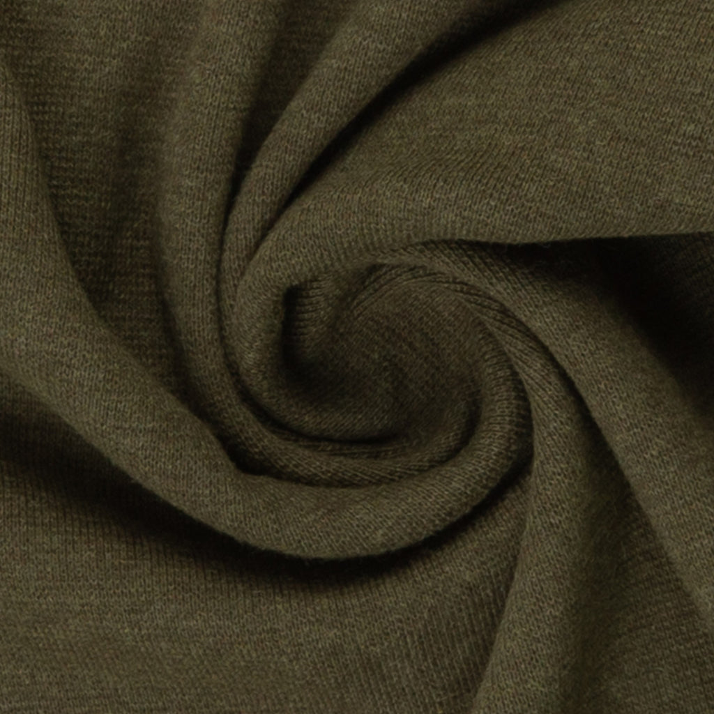 Swafing- Marled Smooth Ribbing -  Khaki Green- sold per 10cm x 95cm
