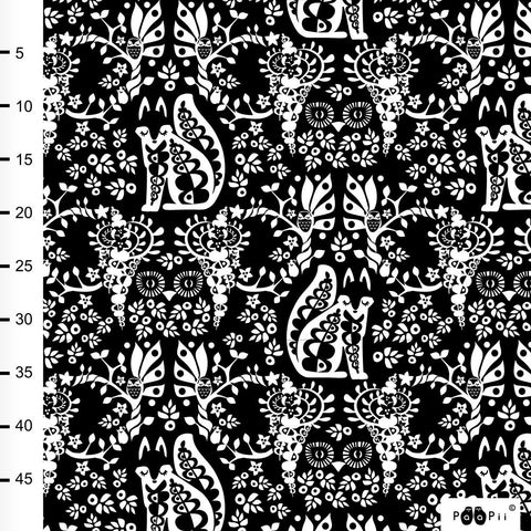 PaaPii Design- Cotton Woven- Mielikki Black and White folklore- 50cm x 150cm